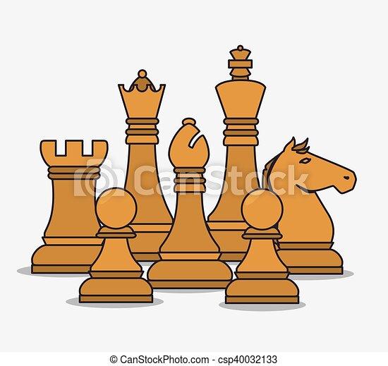 isoleret, stykker, konstruktion, chess, menneskelige ressourcer - csp40032133