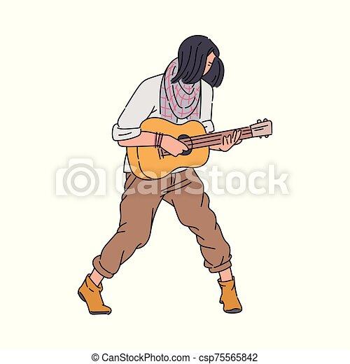 isoleted., 音楽家, 通り, ギターの 演奏, 人, スケッチ, イラスト, 漫画, ベクトル - csp75565842