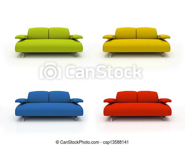 Farbige moderne Sofas auf weißem Hintergrund isoliert 3D - csp13588141