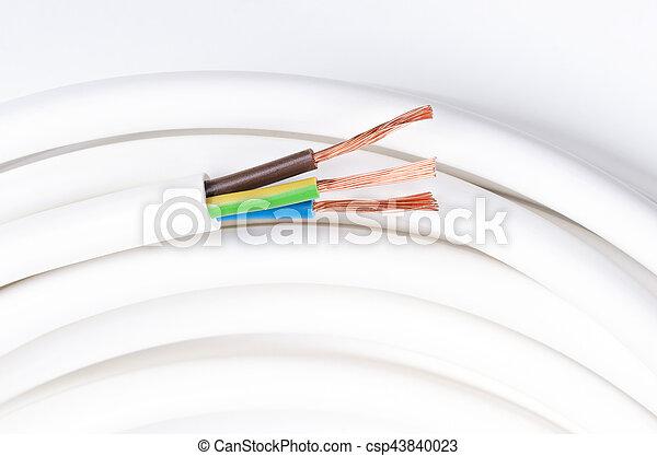Isoliert, kabel, drei, elektrisch, horizontal, schaffner ...
