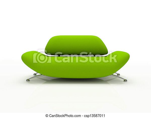Grünes Sofa auf weißem Hintergrund isoliert 3D - csp13587011