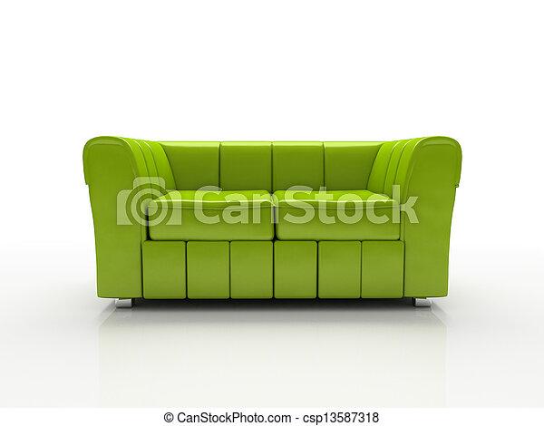 Grünes Sofa auf weißem Hintergrund isoliert 3D - csp13587318