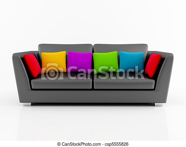Isolted Black Couch With Colored Pillow Black Leather Couch With Colored Cushion Rendering