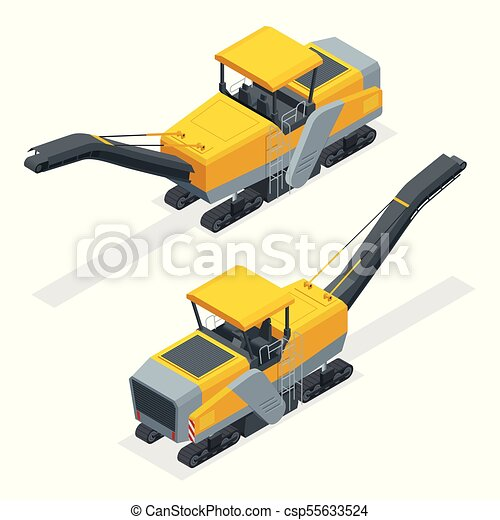 Pavimentos isométricos, planificación fría, molinetes asfalto, o perfiles. Proceso de remover parte de la superficie de un área pavimentada como un camino, puente o estacionamiento. - csp55633524