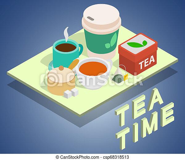Estandarte conceptual del té, estilo isométrico - csp68318513
