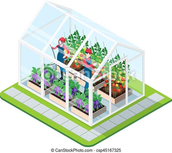Isom trico concepto invernadero edificio isom trico for Plan de negocios de un vivero de plantas
