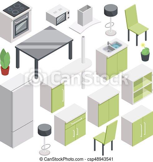 Isométrico, conjunto, habitación, vector, design., muebles, 3d ...