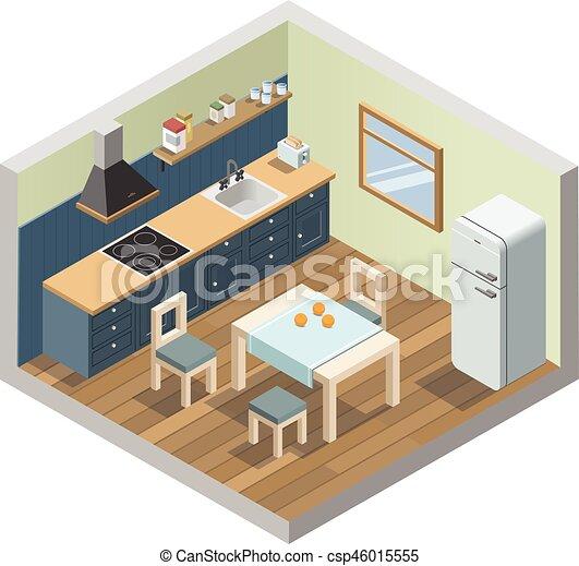 isométrico, conjunto, iconos, casa, vector, aparatos, muebles, cocina