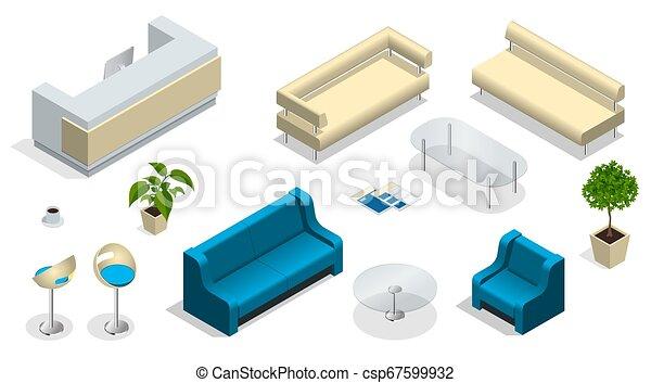 Son muebles de oficina modernos. Interior moderno con un escritorio de recepción. Muebles, oficina. - csp67599932