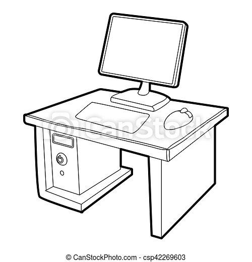 Desktop con icono informático, estilo isometrico 3D - csp42269603