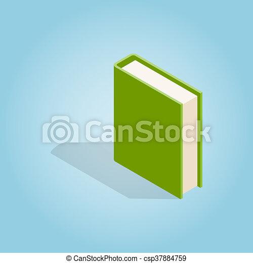 Icono de libro verde, estilo isometrico 3D - csp37884759