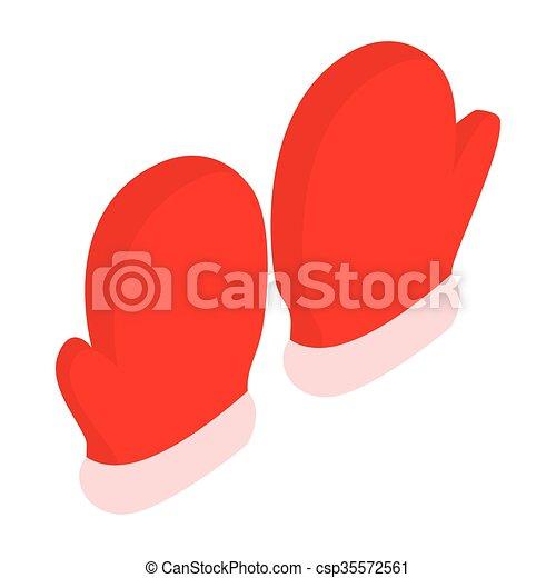 isométrico, estilo, par, icono, manoplas, rojo, 3d - csp35572561