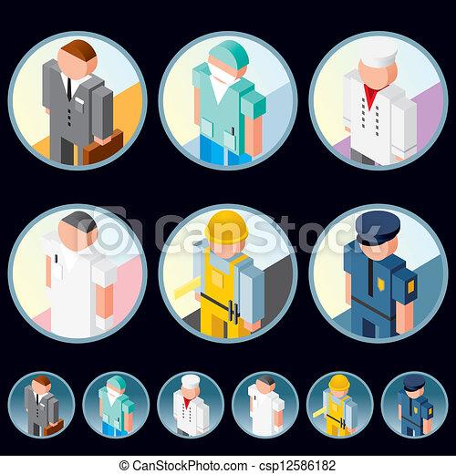 La gente ocupa iconos. Imágenes de vectores isométricos - csp12586182