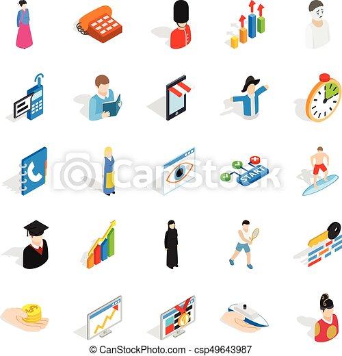 Nuevos íconos trabajadores, estilo isometrico - csp49643987