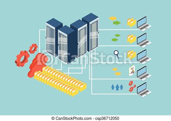 isométrico, intercambio, computador portatil, base de datos, almacenamiento, computadora, diseño, datos, nube, 3d - csp36712050
