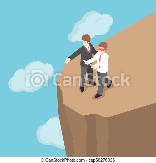 El jefe isométrico presentó a un hombre de negocios con los ojos vendados para caminar hasta el acantilado. - csp50276036