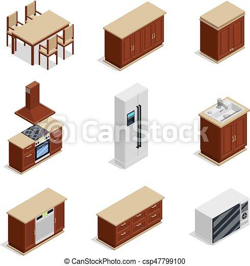 isométrico, muebles, conjunto, cocina, iconos