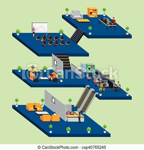 Gente de negocios trabajando en la oficina con estilo isometrico - csp40765245