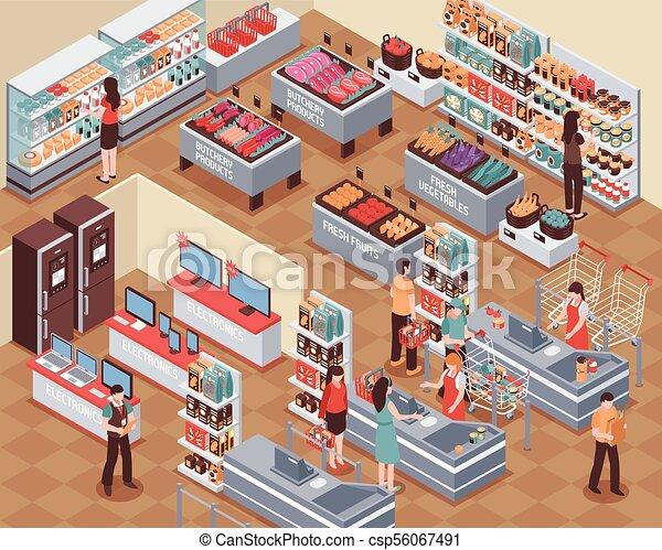 Ilustración de supermercado - csp56067491