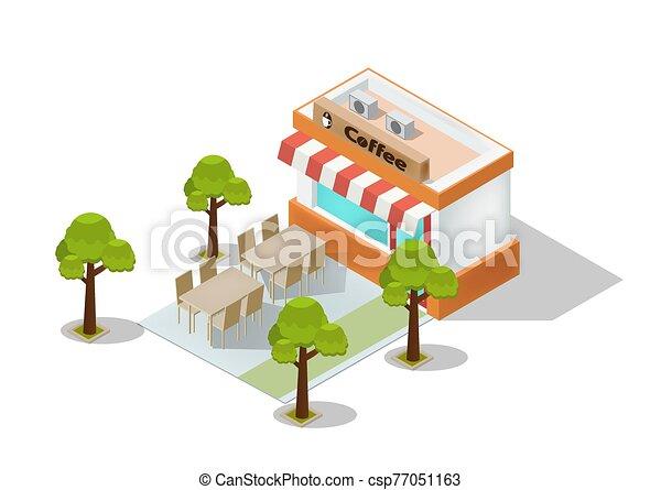 isométrico, tienda, café, vector - csp77051163