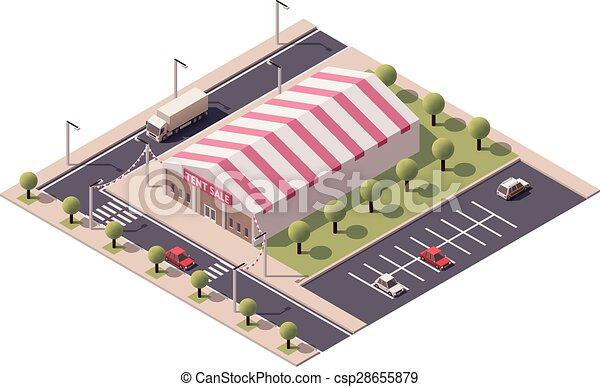 Tienda de tiendas de tiendas de Vector Isometric - csp28655879