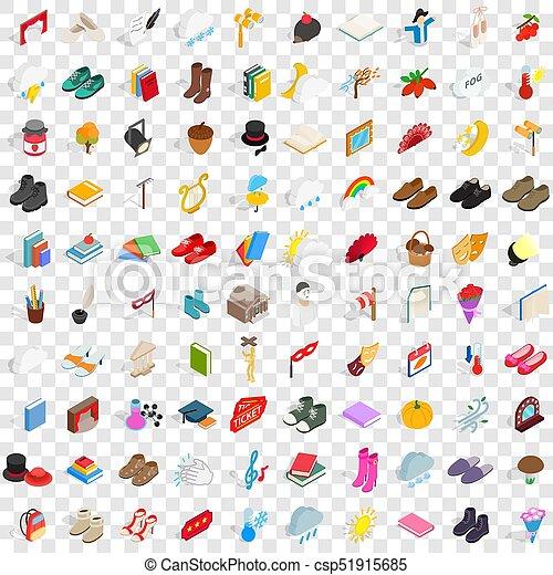 isométrico, viejo, iconos, conjunto, estilo, 100, 3d - csp51915685