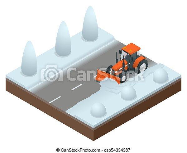 La excavadora isométrica limpia de la vieja nieve. Ilustración de vectores de quitanieves - csp54334387