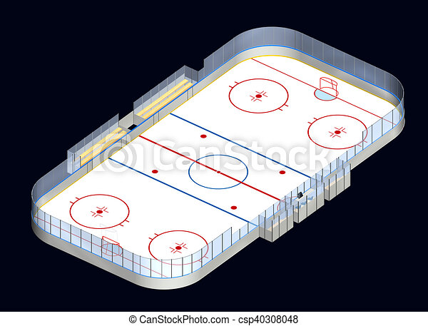 Isom trique 3d hockey patinoire glace d taill isom trique patinoire isol illustration - Patinoire dessin ...