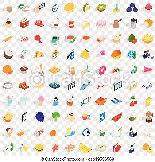 isométrique, bakeshop, icônes, ensemble, style, 100, 3d - csp49536569
