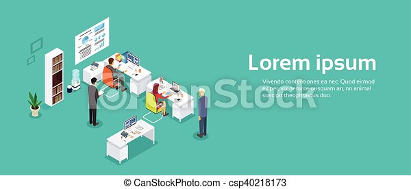 isométrique, bureau, fonctionnement, espace, businesspeople, informatique, intérieur, copie, bannière, 3d - csp40218173