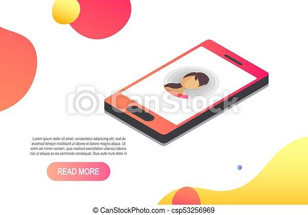 isométrique, concept, entrant, vecteur, appeler, icon.isometric, smartphone, 3d - csp53256969