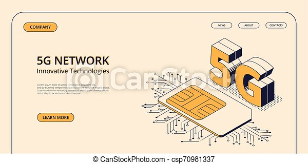 isométrique, concept, illustration., mobile, vecteur, 5g, télécommunications - csp70981337