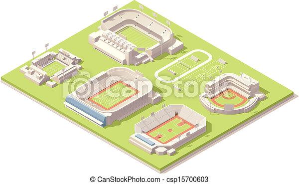 isométrique, ensemble, bâtiments, stade - csp15700603