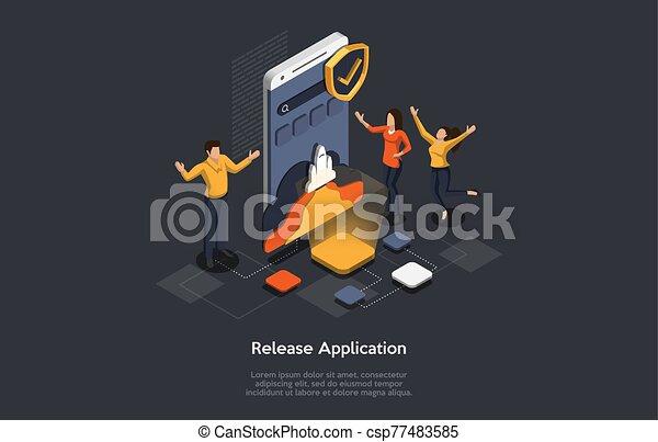 isométrique, illustration, mobile, application., application, release., vecteur, concept, confection, gens, recherche, développer - csp77483585