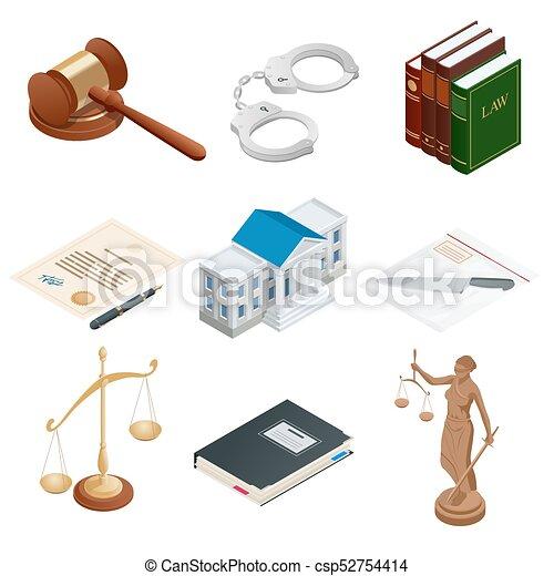 isométrique, symbols., icônes, justice, public, isolé, illustration, themis., balances, vecteur, menotte, papier, juge, lawbook, marteau - csp52754414