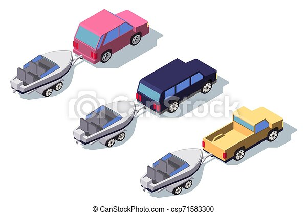 Isometric 3d back view classic pickup truck car with boat. - csp71583300