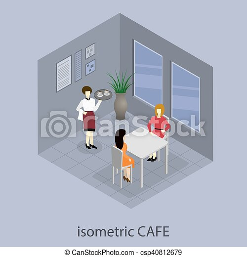 Isometric 3D cafe. - csp40812679
