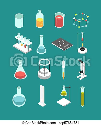 Isometric 3d Chemical Laboratory Equipment Chemistry Attributes Vector Icons Isolated