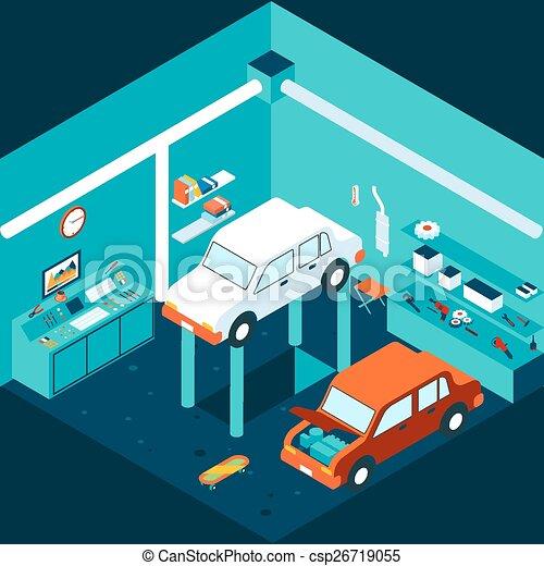 Isometric 3d Garage Car Repair Workshop And Auto Lift