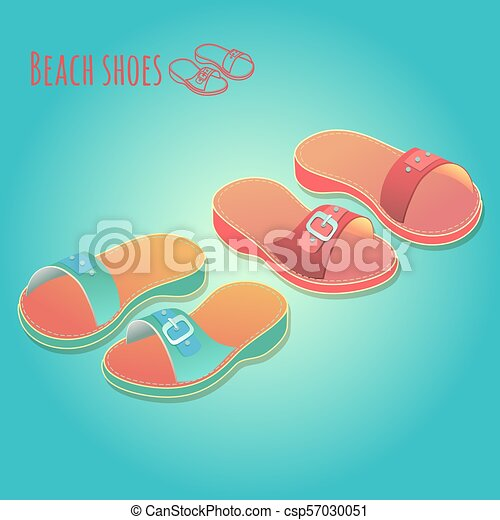 Isometric 3d illustration of colorful womens shoes. - csp57030051