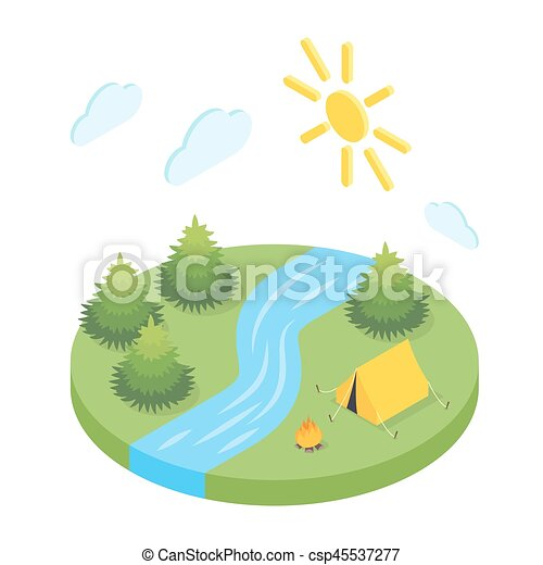 Isometric 3d illustration of forest camp. - csp45537277