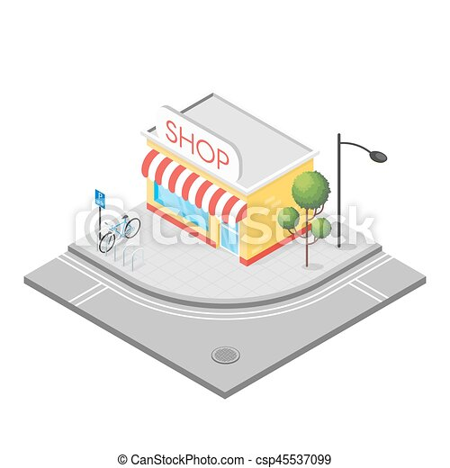 Isometric 3d illustration of shop - csp45537099