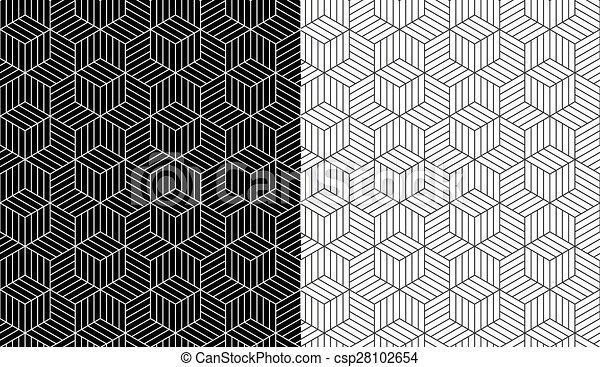 3d Line Drawings : Isometric d line cube pattern background set of