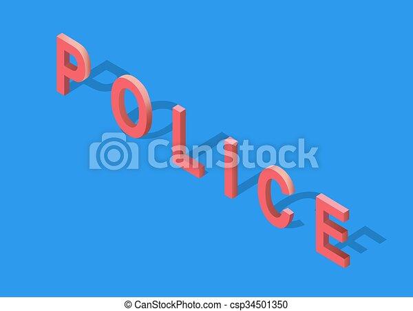 Isometric 3D Police Text - csp34501350