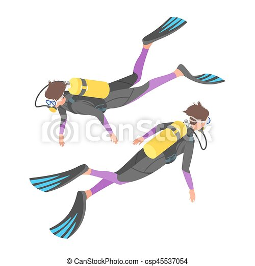 Isometric 3d vector illustration of diver. - csp45537054