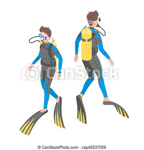 Isometric 3d vector illustration of diver. - csp45537059