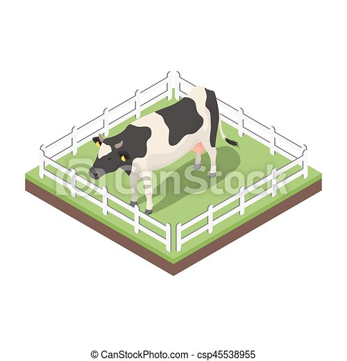 Isometric 3d vector illustration of cow. - csp45538955