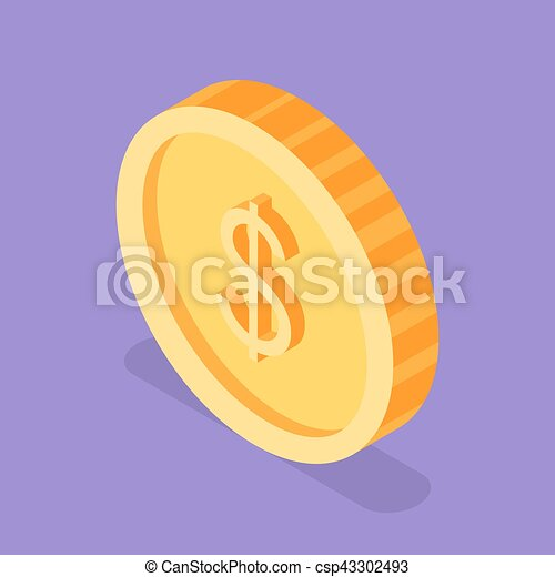 Isometric 3d vector illustration of golden coin. - csp43302493