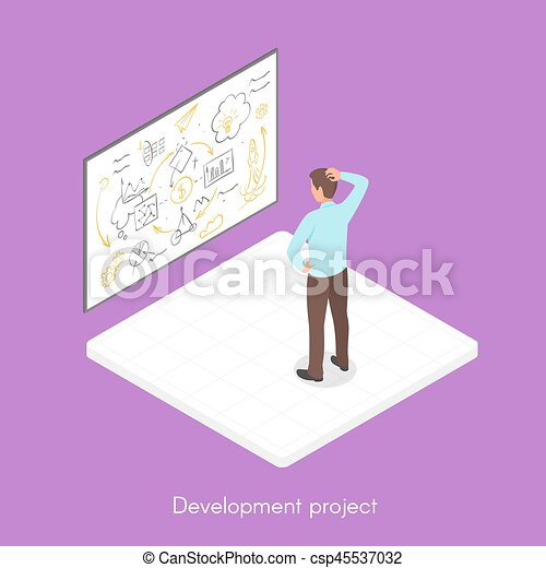 Isometric 3d vector illustration of project development. - csp45537032