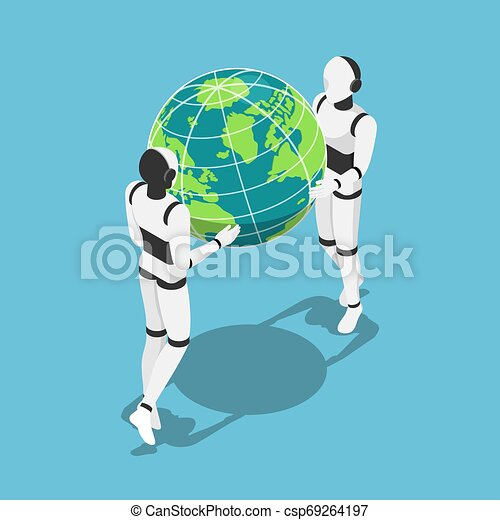 Isometric Ai robot holding earth planet in hands - csp69264197